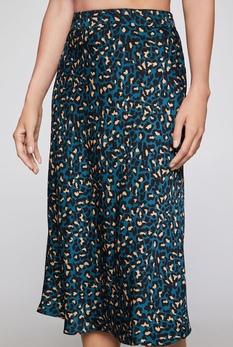Teal Cheetah Midi Skirt