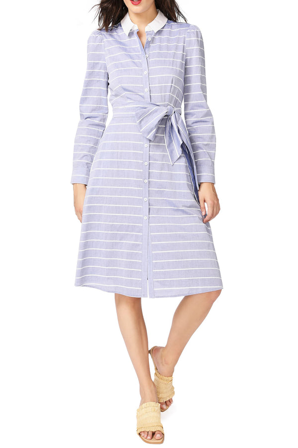 Stripe Long Sleeve Cotton Shirtdress
