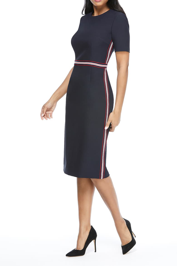 Sheath Midi Dress with Striped Waist