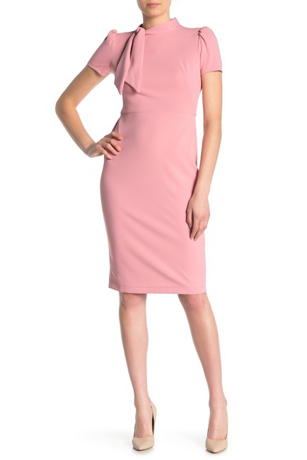 Neck Tie Short Sleeve Sheath Dress