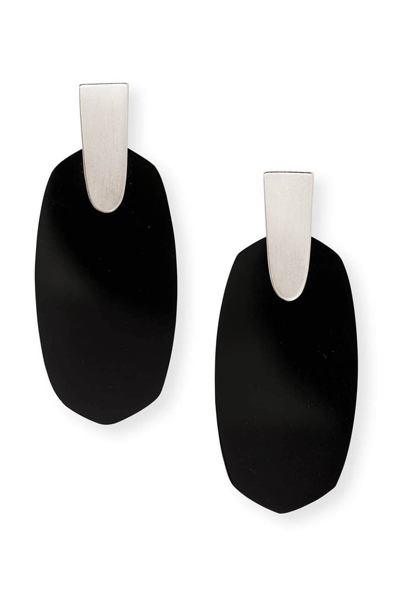 Aragon Silver Drop Earrings In Black Opaque Glass