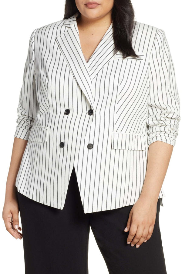 Double Breasted Stripe Cotton Blazer