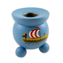"""Viking Ship Style: B"" Painted Candle Holder, Swedish"