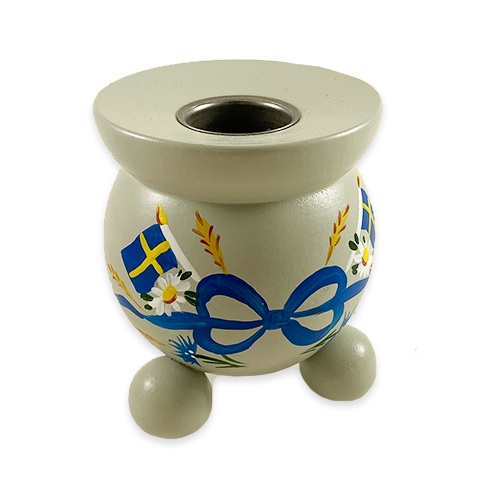 """Swedish Flags"" Painted Candle Holder, Sweden"