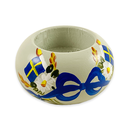"""Swedish Flags Style: B"" Painted Candle Holder, Sweden"