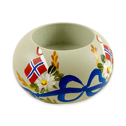 """Norwegian Flags"" Painted Candle Holder, Sweden"