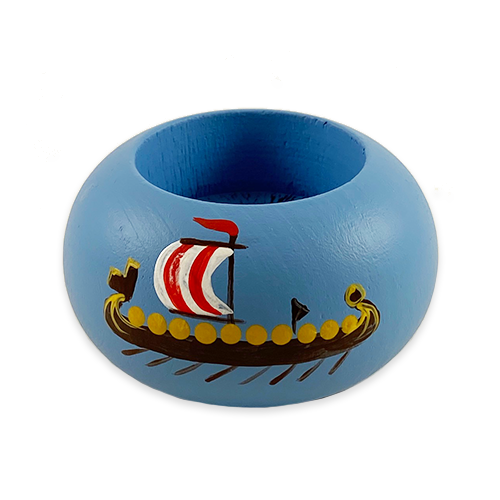 """Viking Ship"" Painted Candle Holder, Sweden"