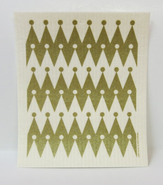 Gold Zig-zag pattern Swedish Dishcloth