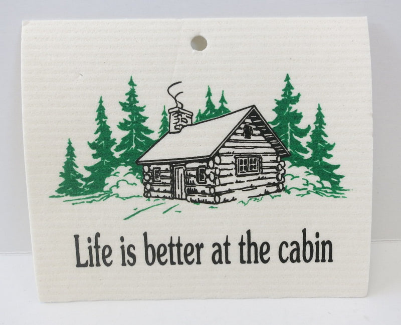 """Cabin"" Swedish Dishcloth"