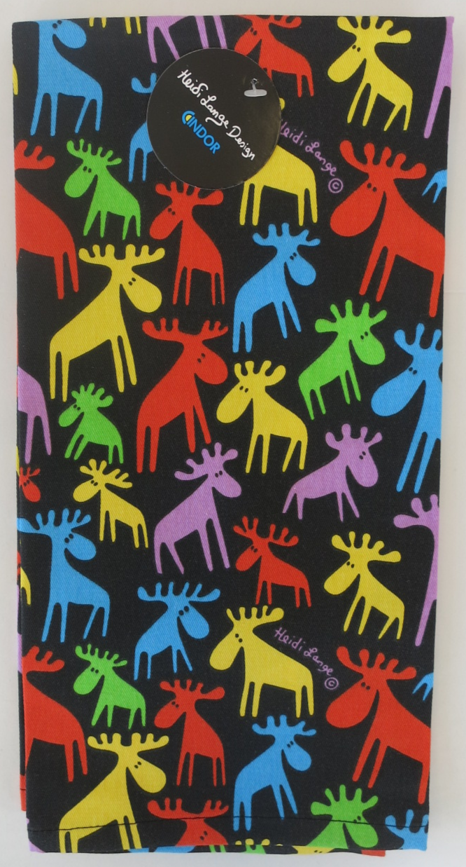Colorful Moose Herd Hand Towel