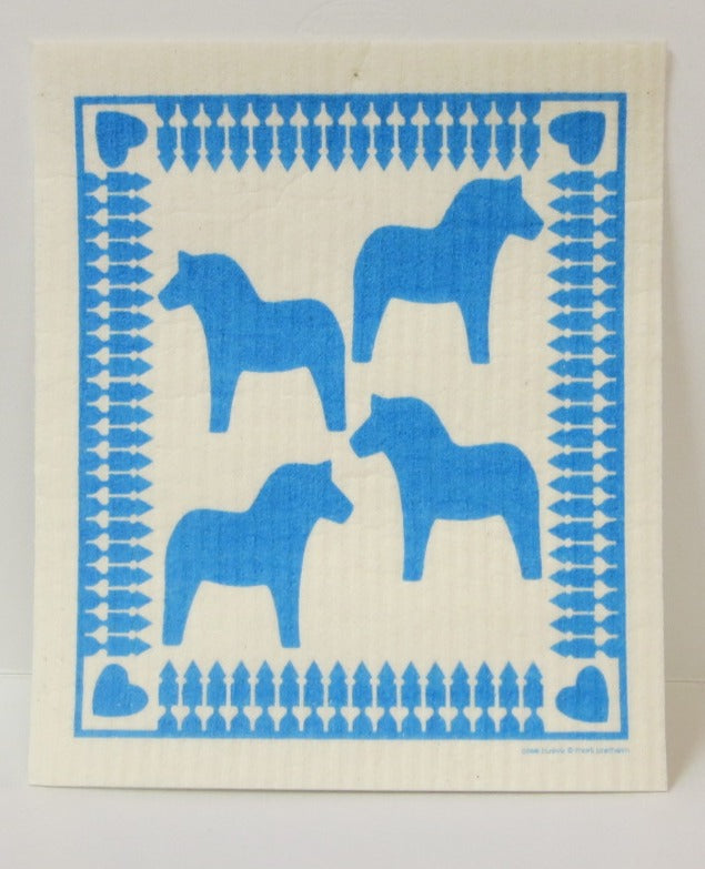 Blue Dala Horses Swedish Dishcloth