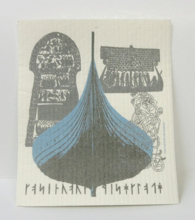 Viking Ship Swedish Dishcloth