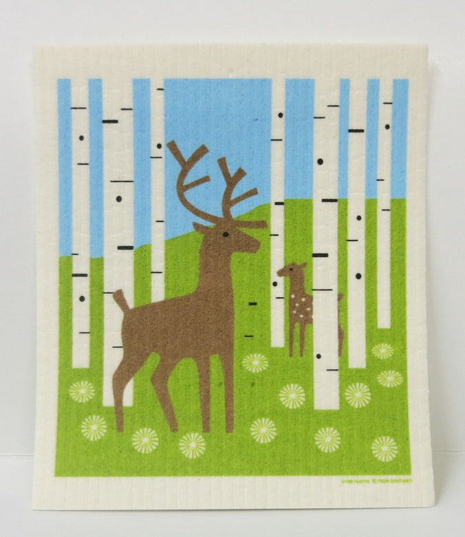 Deer in Forest Swedish Dishcloth