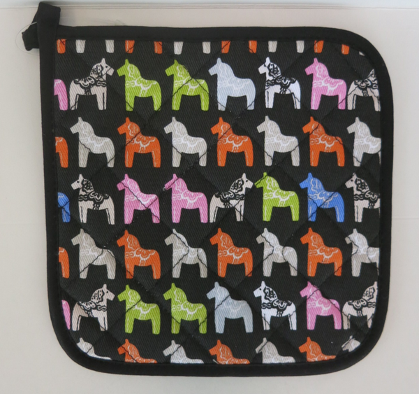 Black/Neon Dala Horse Pot Holder