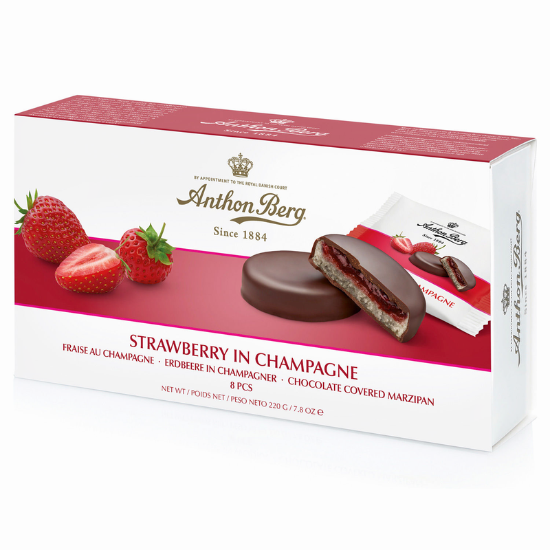 Strawberry in Champagne Marzipan Chocolates