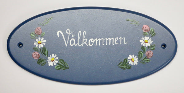 Välkommen with Flowers Wall Decal (Hand-Painted)