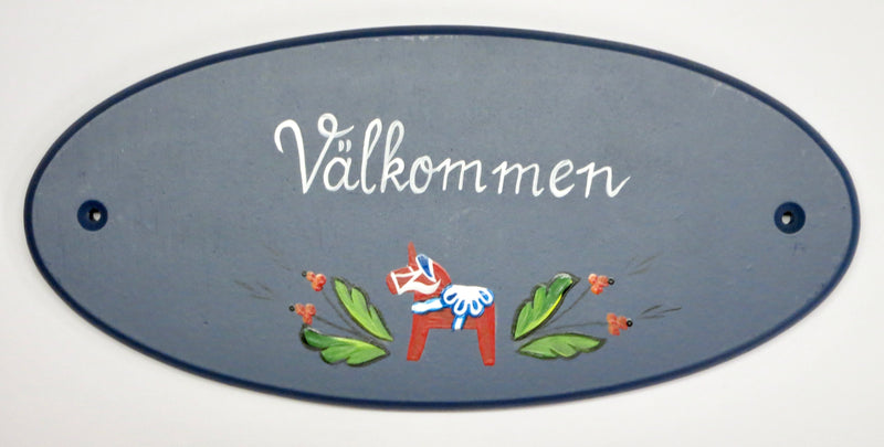 Välkommen with Dala Horse Wall Decal (Hand-Painted)