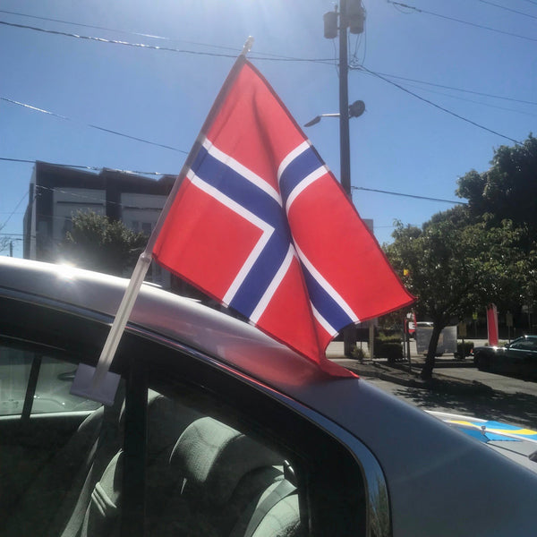 Norwegian Car Flag, with Plastic Base