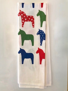 "Kitchen Towel - ""Dala Horses"""