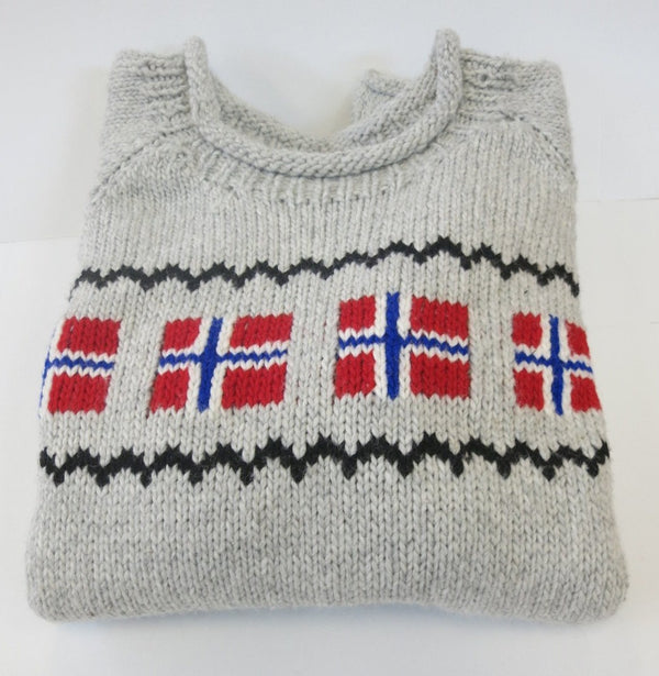Grey Norwegian Flag Sweater