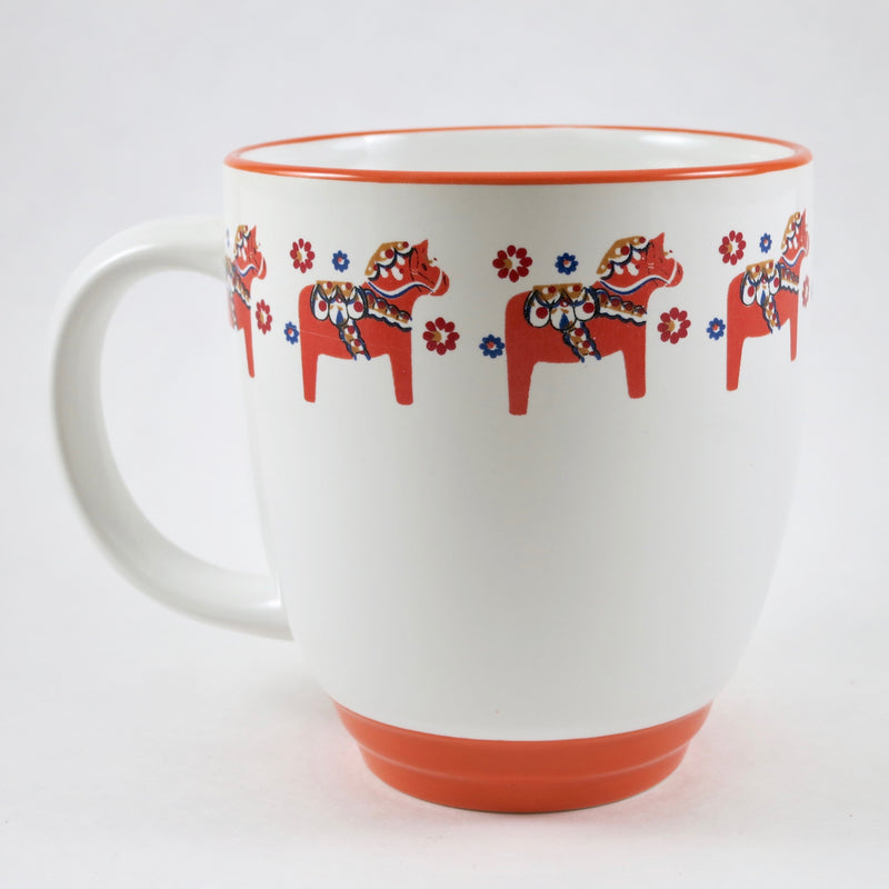 Mug - Swedish Dala Horses, Orange