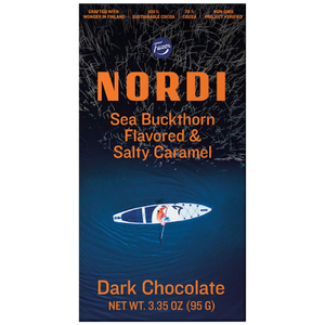 "Nordi ""Sea Buckthorn & Salty Caramel"" Dark Chocolate by Fazer"