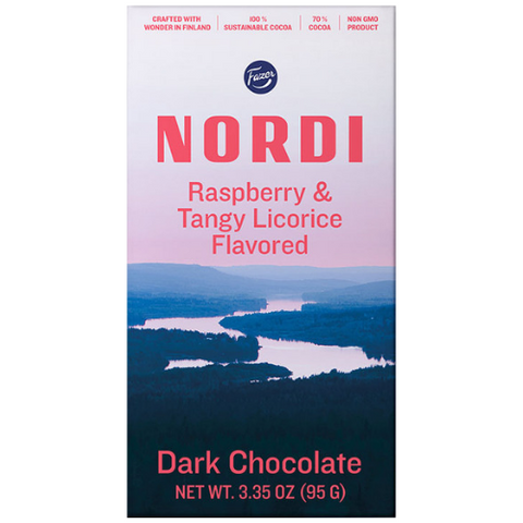 "Nordi ""Raspberry & Tangy Licoricel"" Dark Chocolate by Fazer"