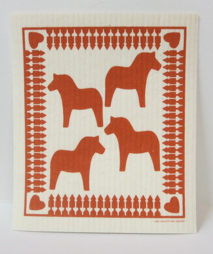 Red Dala Horses Swedish Dishcloth