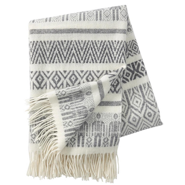 Nordic People Pattern, Grey - Woven Wool Throw