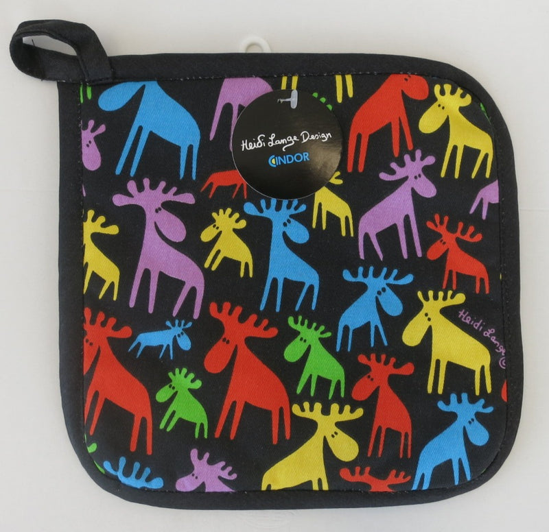 "Heidi Lange Design ""Colorful Moose Herd"" Pot Holder"