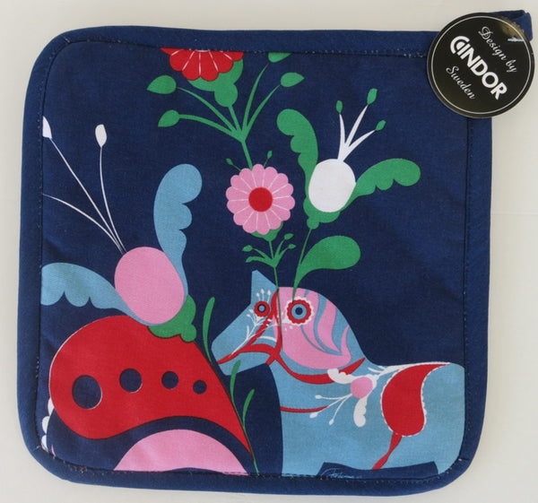 Navy Blue Dala Pot Holder