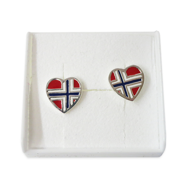 Silver Earrings, Flag Heart (Norway)