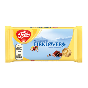 FREIA of Norway - Firkløver Milk Chocolate with Hazelnuts, 24g