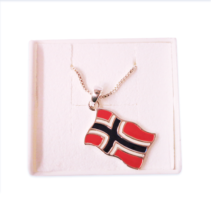 Silver Necklace, Flag Heart (Norway)