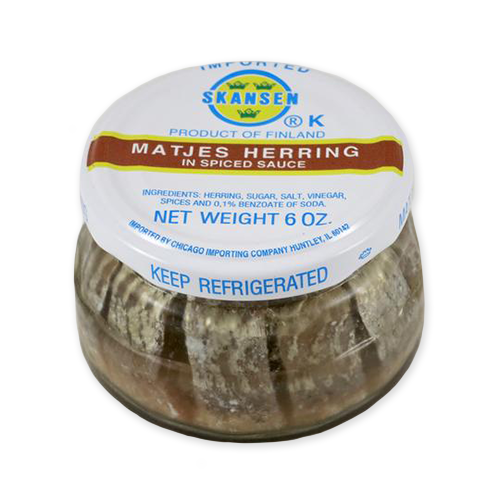Matjes Herring in Spiced Sauce, Glass Jar (6 oz) PERISHABLE