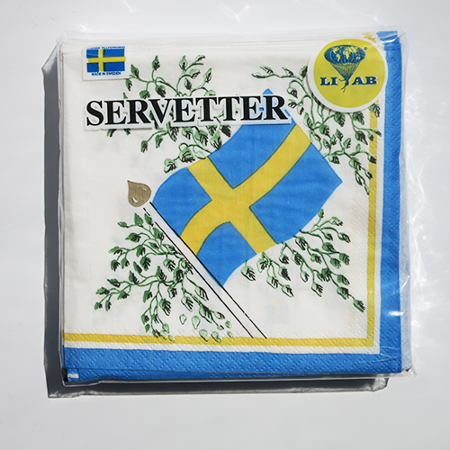 Swedish Flag Napkin - Beverage/Cocktail