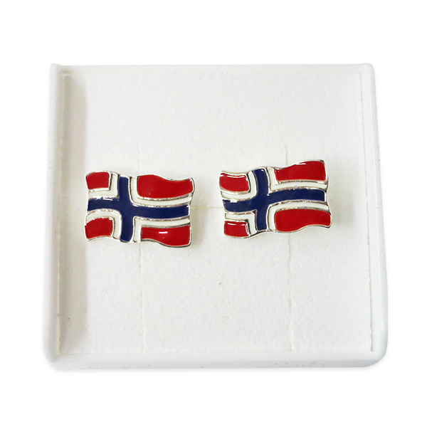 Silver Earrings, Flag (Norway)