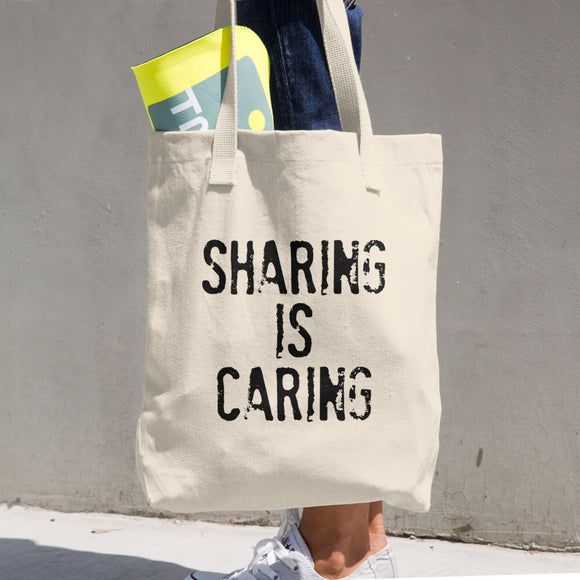 SHARING IS CARING Cotton Tote Bag