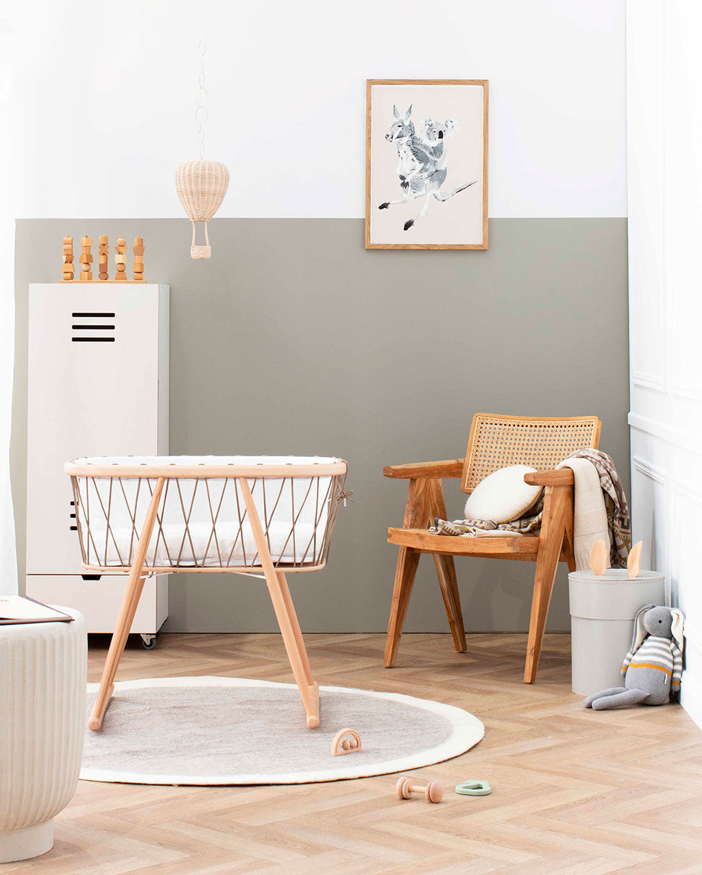 Charlie Crane Kumi Cradle in a nursery as featured in Milky Magazine