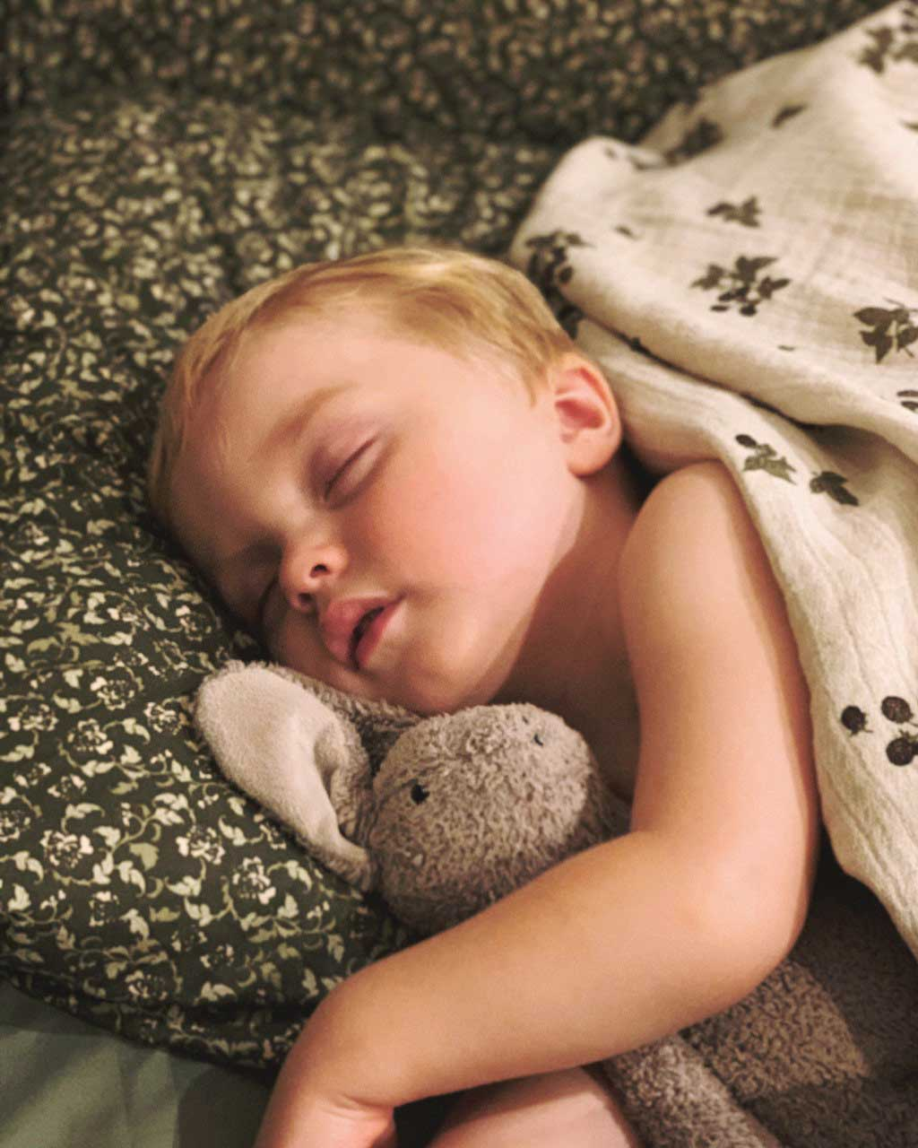 Lovisa's son Nils snuggled up with his bunny in Garbo&Friends bedding