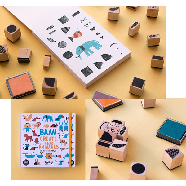 Londji BAM Create Your Animals Wooden Stamps