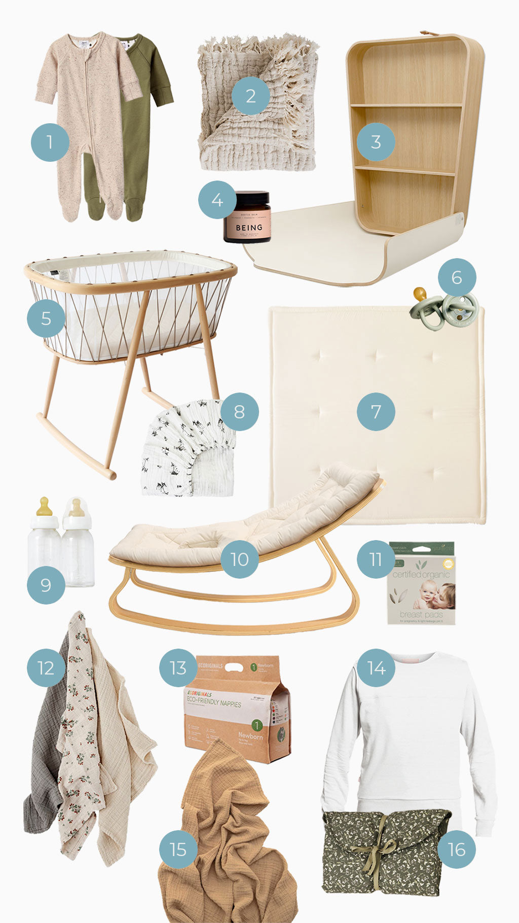 Newborn Essentials Flay Lay featuring the sustainable selection of baby products mentioned in the blog post