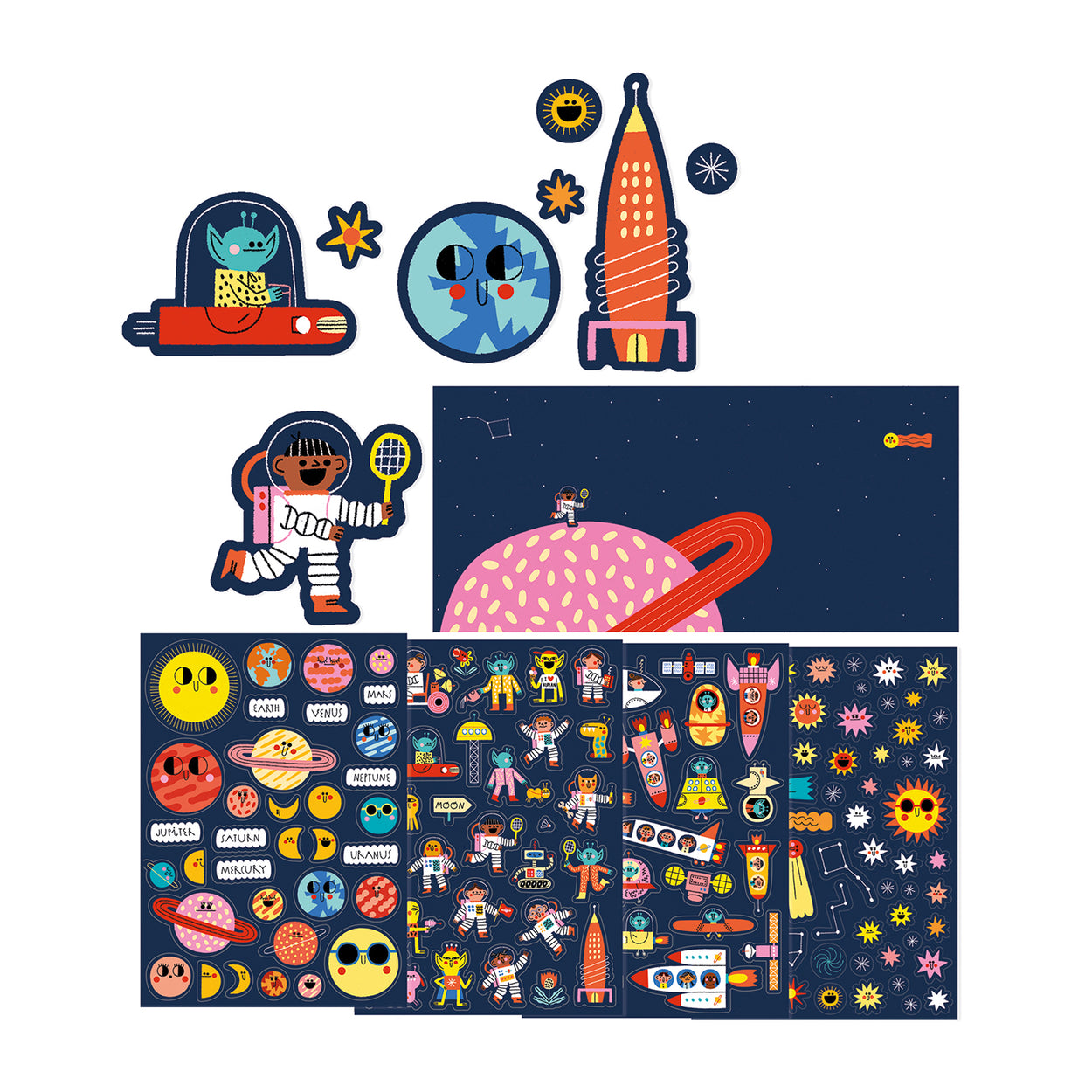 Space themed sticker set