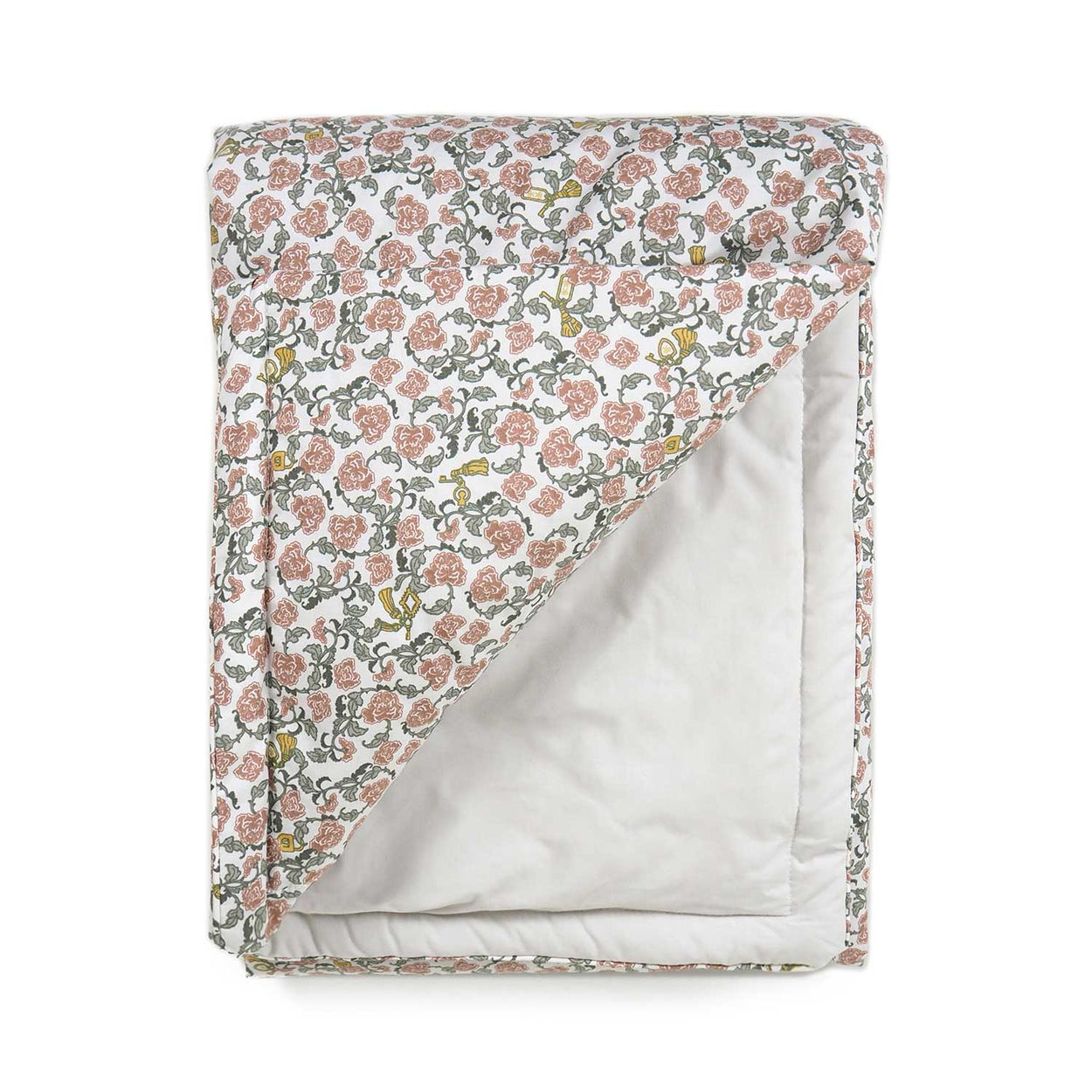 Garbo&Friends filled blanket with a floral vine pattern on one side