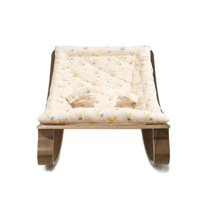 Charlie Crane Levo Baby Rocker in Walnut with Mimosa Cushion