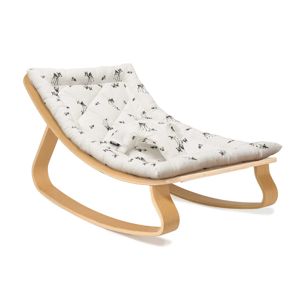 Charlie Crane Levo Baby Rocker in Beech with Fawn Cushion