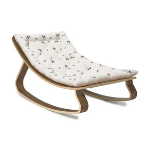 Charlie Crane Levo Rocker in Walnut with a Fawn cushion, pattern designed by Rose in April, harness removed