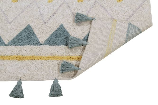Lorena Canals Washable Rug Azteca Natural-Vintage Blue