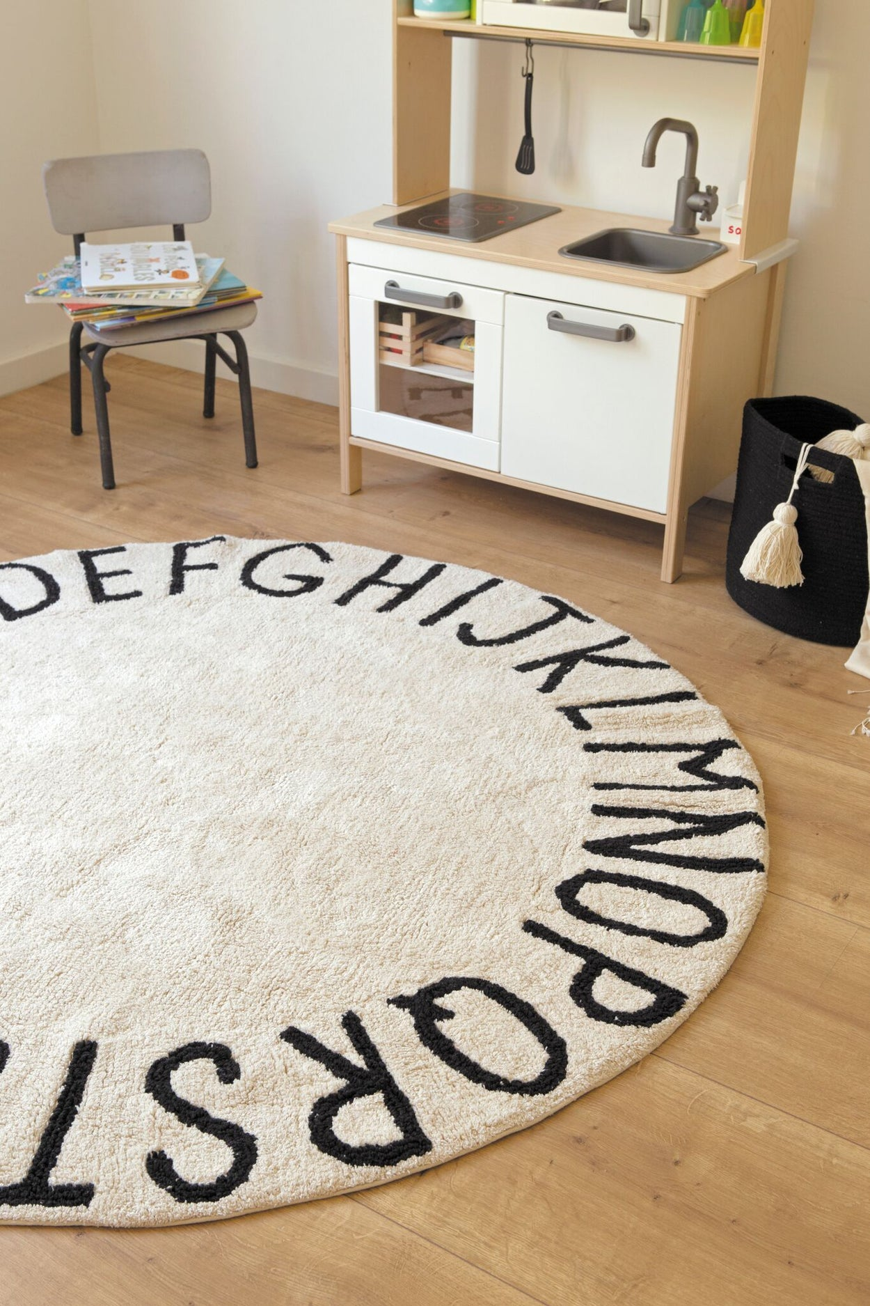 Lorena Canals Washable Rug Round ABC Natural-Black