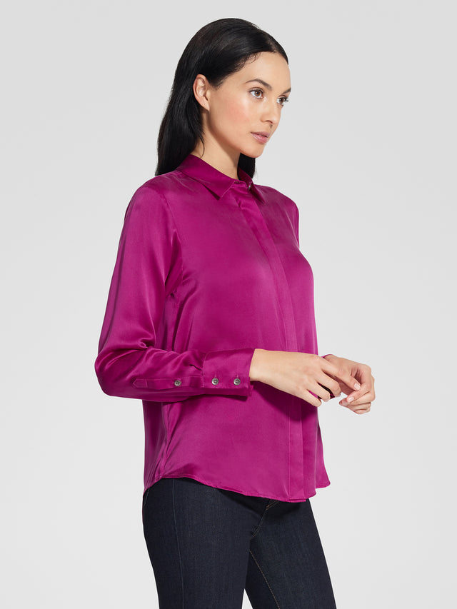 Washed Silk Shirt Magenta